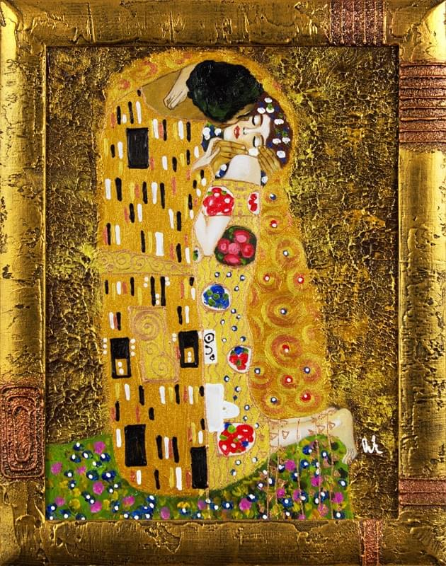 gustav klimt der kuss 47x37 lgem lde handgemalt leinwand rahmen signiert g15498 ebay. Black Bedroom Furniture Sets. Home Design Ideas